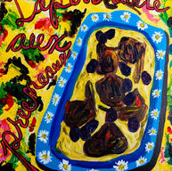 """Sauteed Rabbit With Prunes"" 2015. Acrylic on canvas board, 16 x 20"""