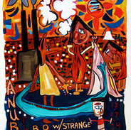 """Anubis Floats By Oswego With Strange Perspective. Cancels Afterlife"" 2009. Acrylic on paper, 17 x 25"""