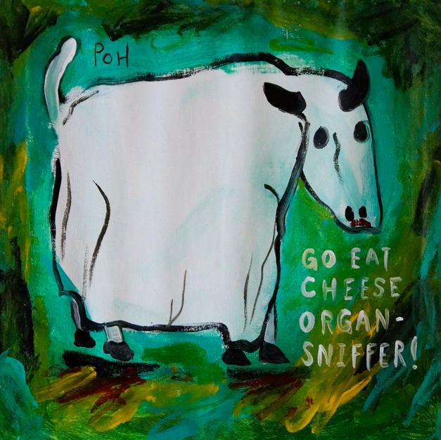"""""""Ghost Cow Says 'Go Eat Cheese, Organ Sniffer!'"""" 2018. Acrylic on used 1950s linen napkin, 12 x 12"""""""