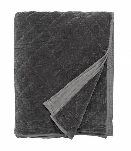 Nordal - Velour Sengetæppe - Dark Grey
