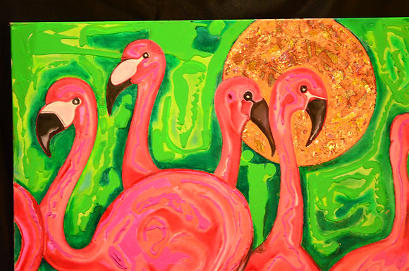 Flamingos and Sun