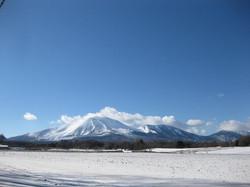 冬の野菜畑から見た浅間山