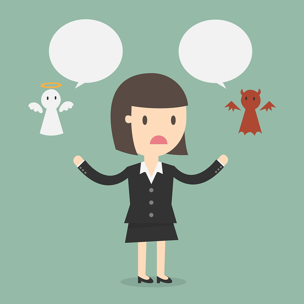 simple drawing of woman in suit with a small angel and devil floating on either side of her, both with speech bubbles