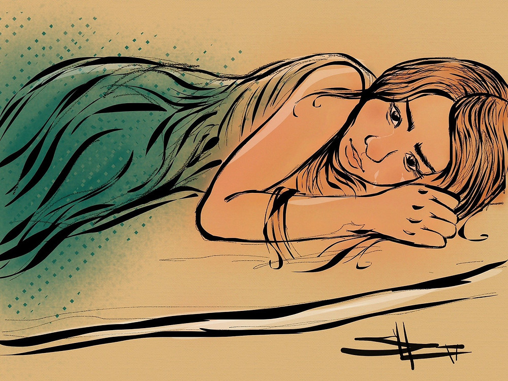 drawing of a young woman lying on her side with two tears coming from her face