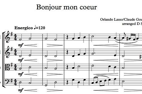 """Bonjour, mon Coeur"" for String Quartet"