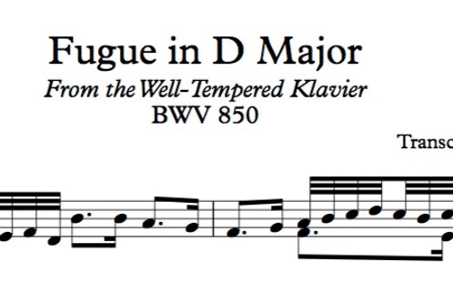 J S Bach Fugue in D Major BWV 850 Transcribed for Violin