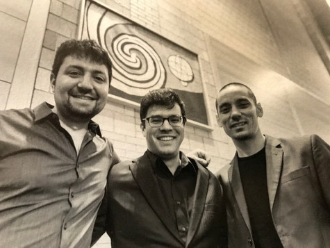 """With composer Andy Akiho and percussionist Ian Rosenbaum after a performance of Andy's """"Ligneous I"""" at Lehigh University"""