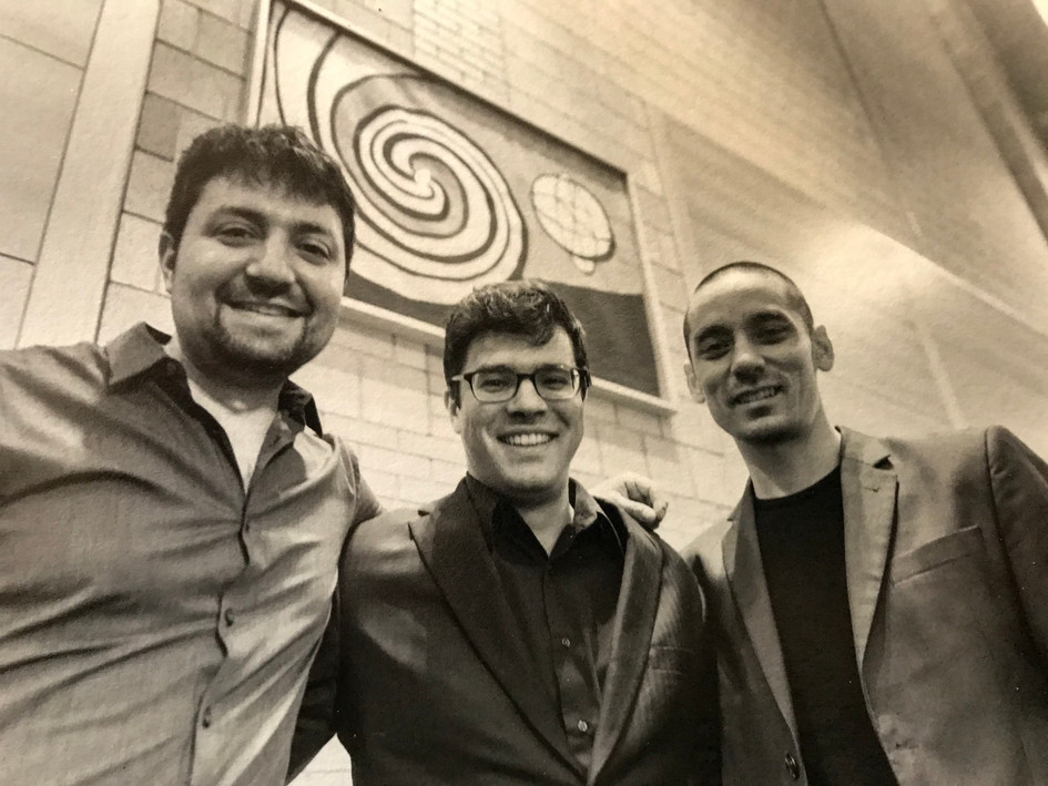 "With composer Andy Akiho and percussionist Ian Rosenbaum after a performance of Andy's ""Ligneous I"" at Lehigh University"