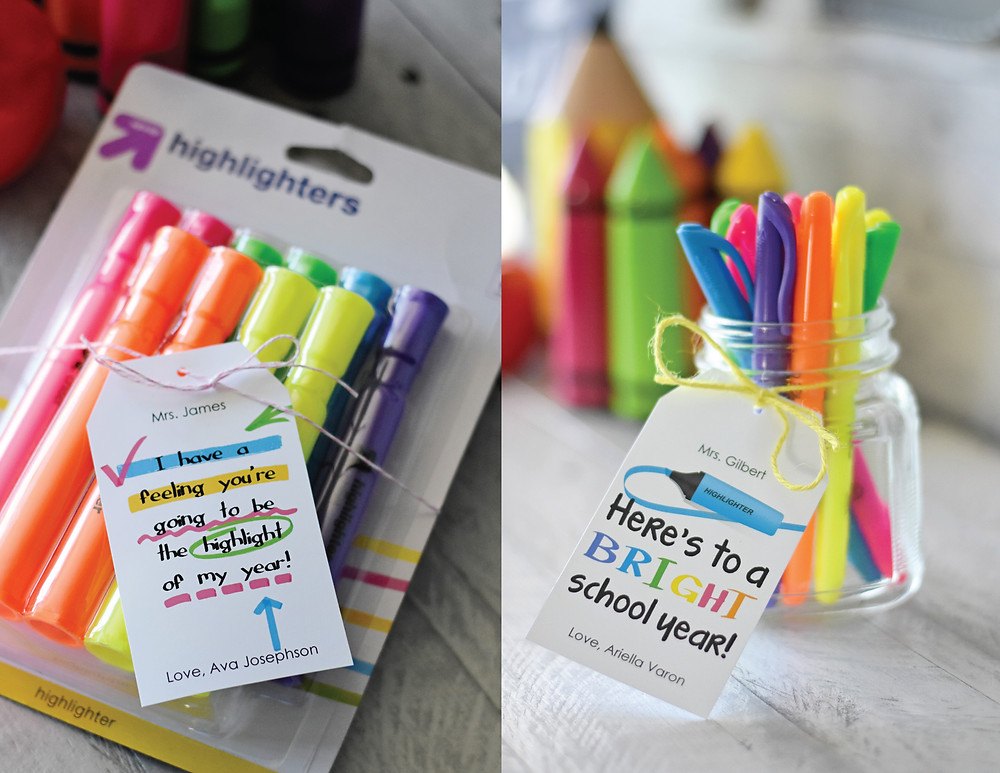 Highlighter and Bright Themed Printable Gifts Tags!