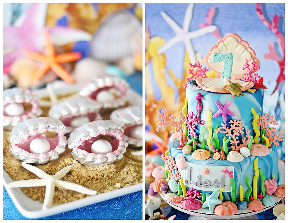 Clam shell sugar cookies and a fondant covered tie-dye covered cake were the hit of the party!