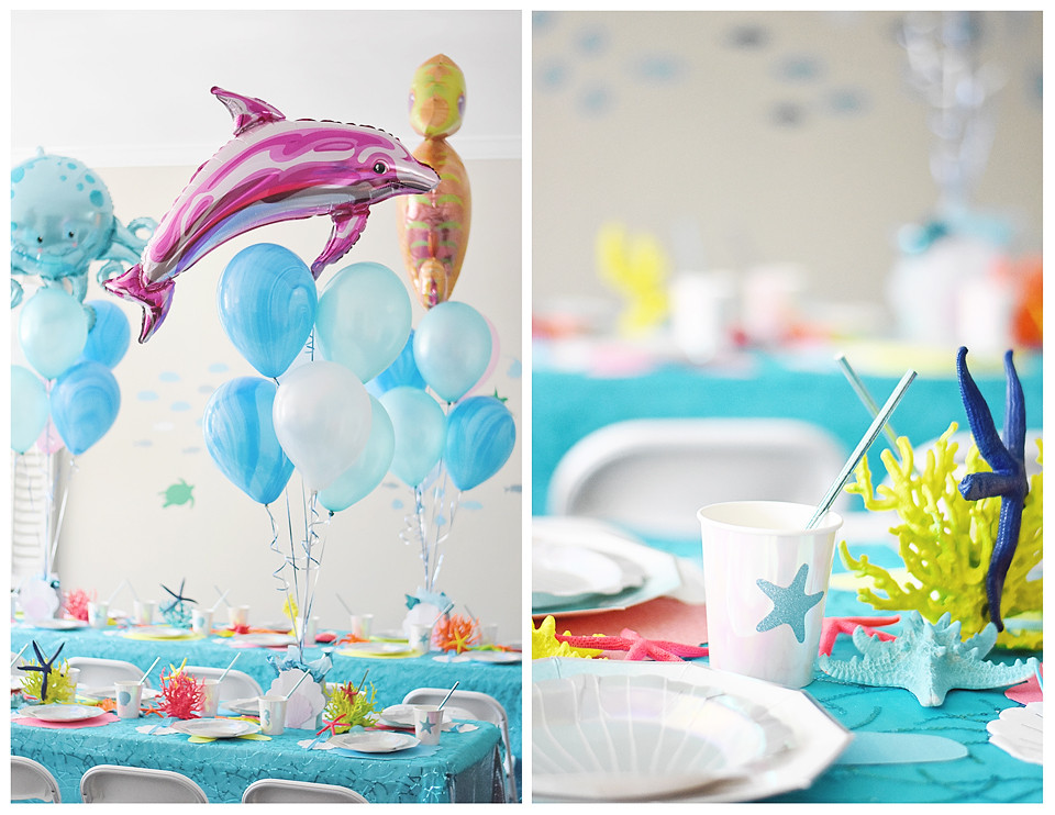Mylar Under the Sea Balloons were table centerpieces