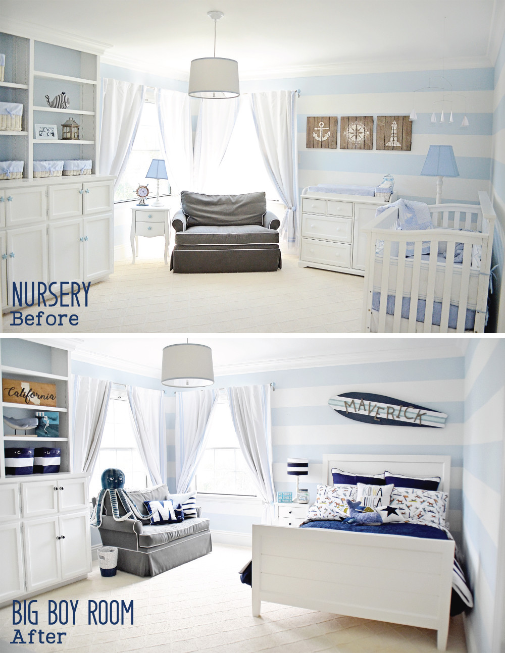 Before and After photos of Maverick's Room!