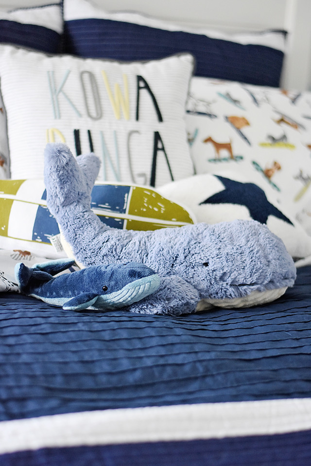 Jellycat Whale and PBK Pillows and Sheets