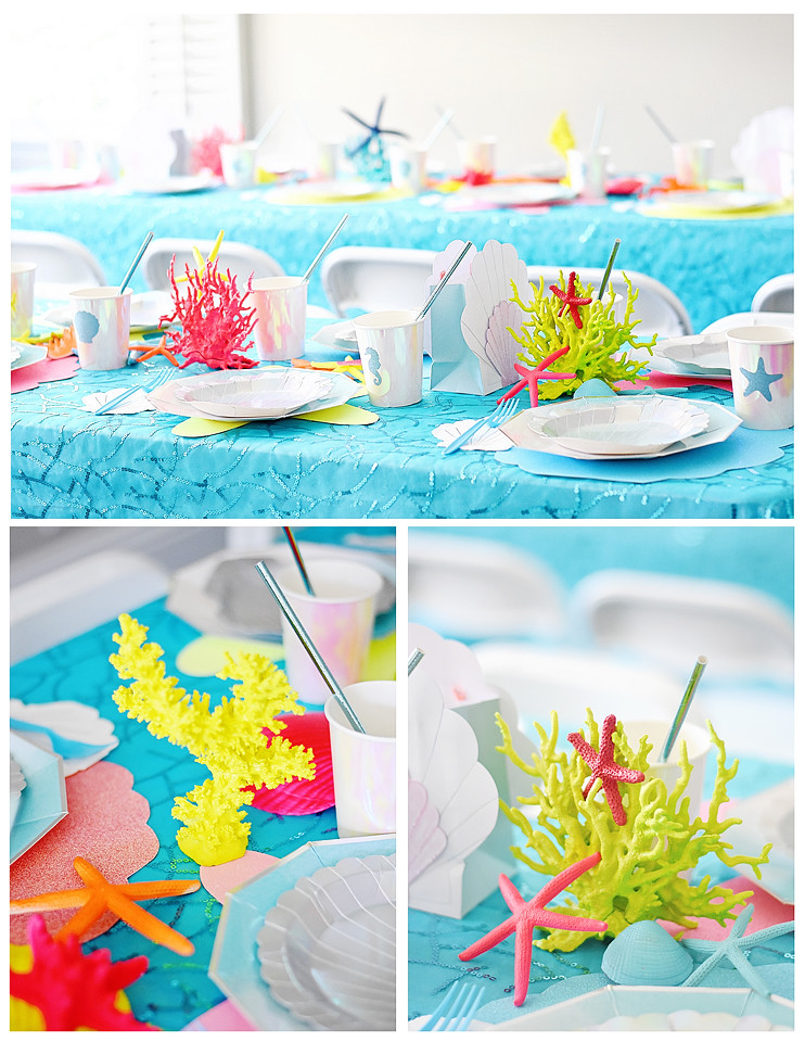 Party Table Decor - Fluorescent Faux Coral, Seashells, and Starfish
