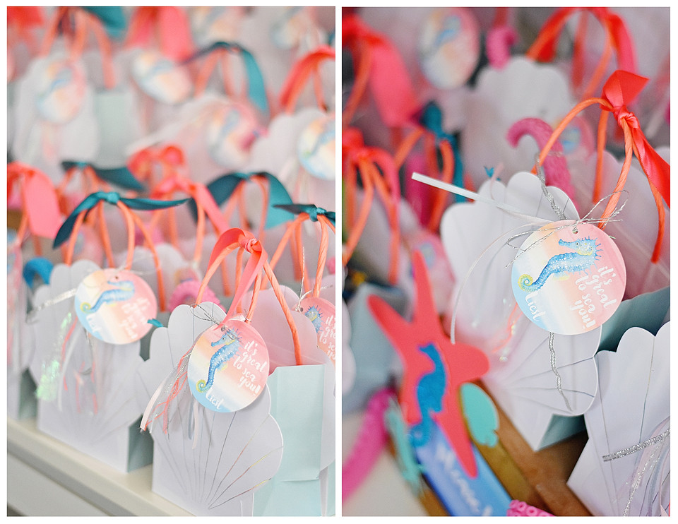 Seashell Goody Bags with custom tags from Emily Entertains