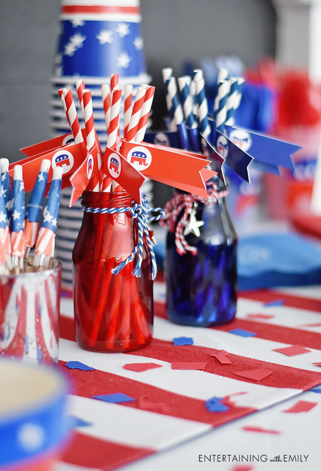 Red and Blue straws and state confetti