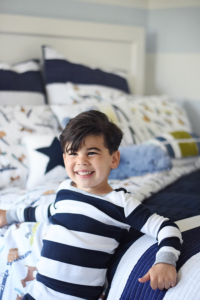 Emery bed and surfing dog sheets from Pottery Barn Kids