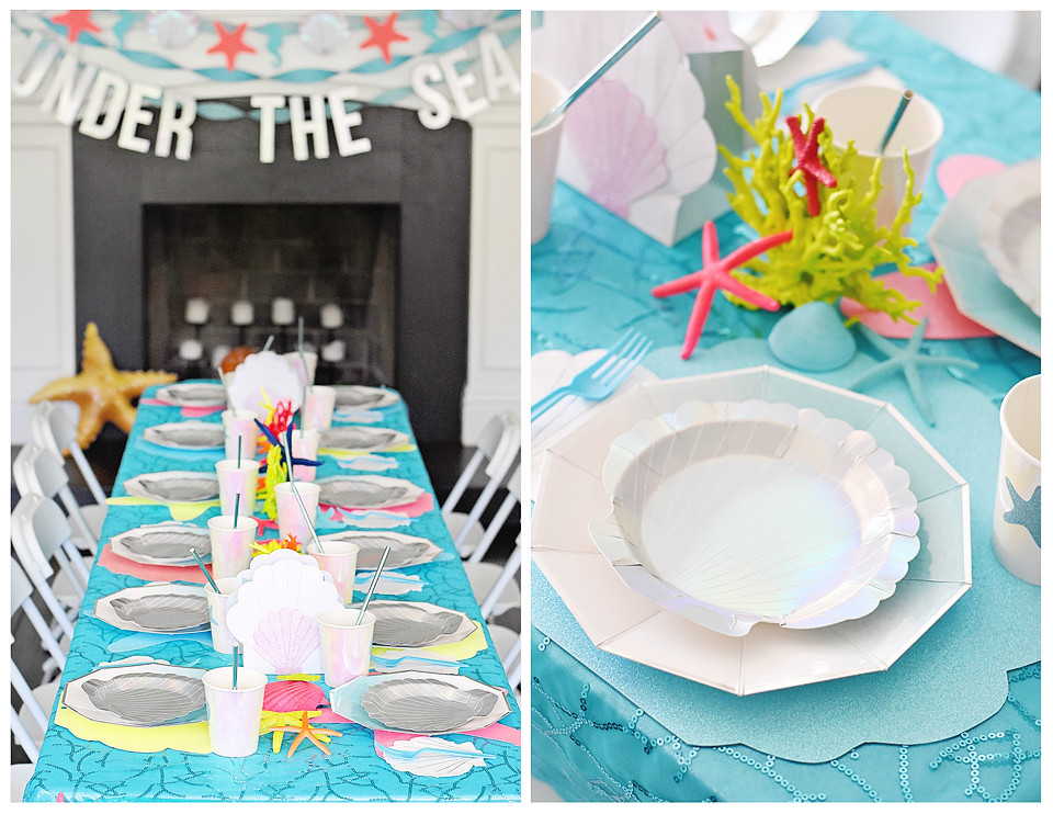 Meri Meri Seashell plates matched the aqua table coverings!