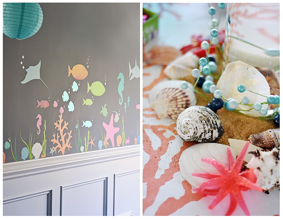 Vinyl wall decals added to the under the sea decor