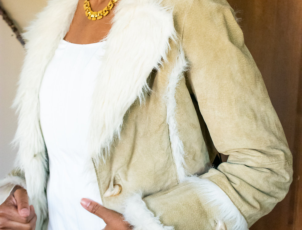 Creme Brown Faux Fur Jacket