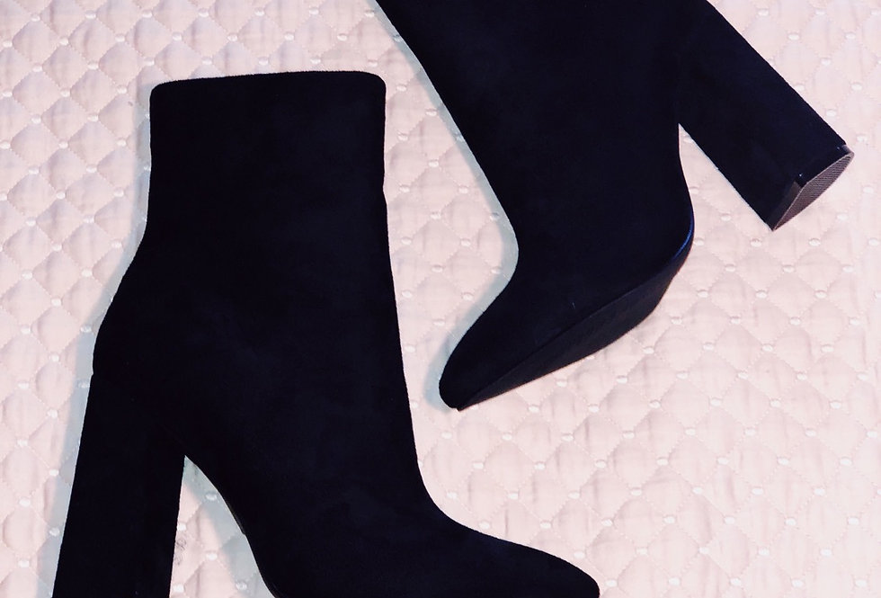 Pointed Black Booties