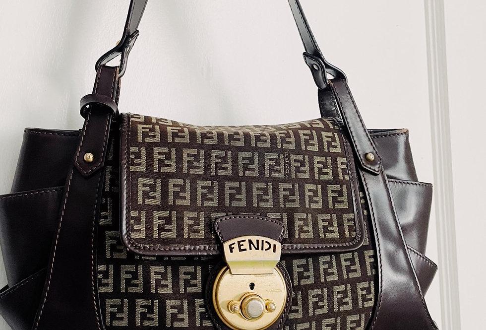 Vintage Fendi Zucca Leather Brown Bag