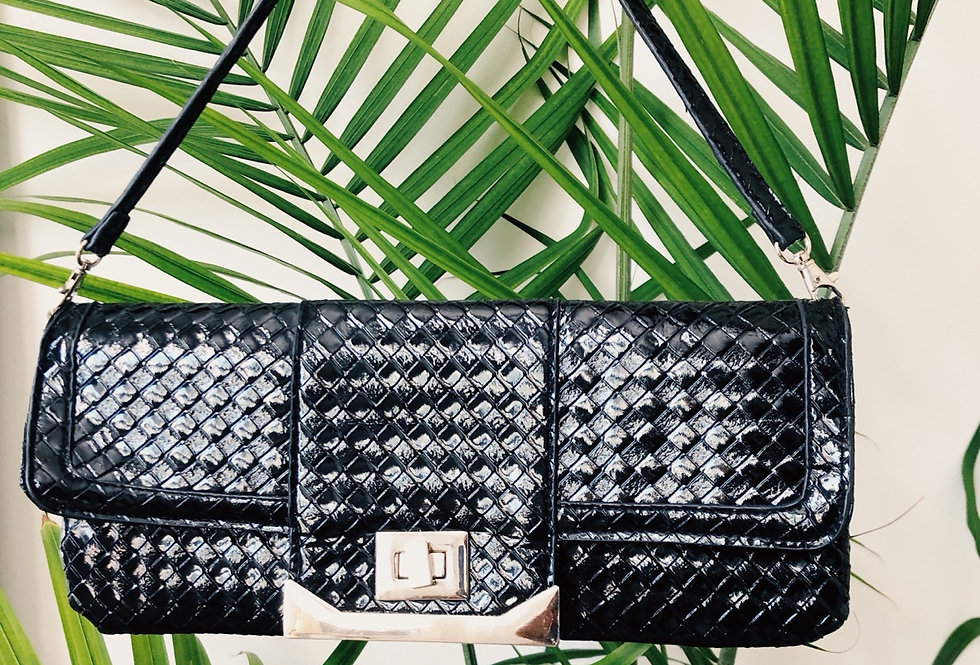 Textured Flap Black Handbag