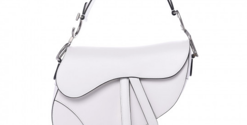 Christian Dior White Saddle Bag