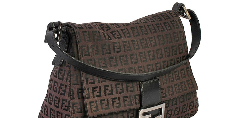 Fendi Brown Zucca Mama Baguette Shoulder Bag