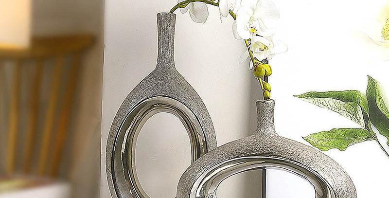 Silver Hollow Drawing Flower Ceramic Vase