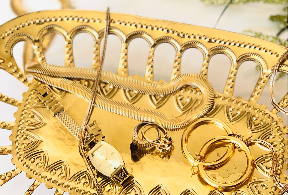 Vintage gold Metal Jewelry Tray