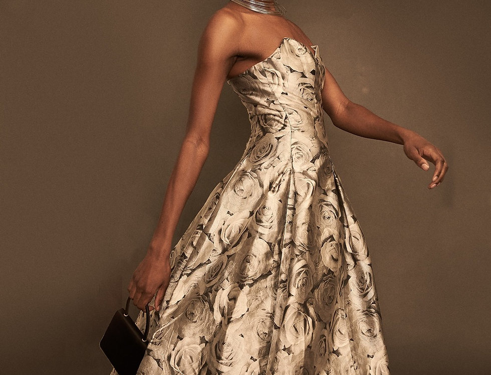 Carol Peretz Silver Roses Gown