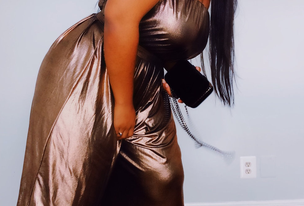 Brown Metallic Jumpsuit