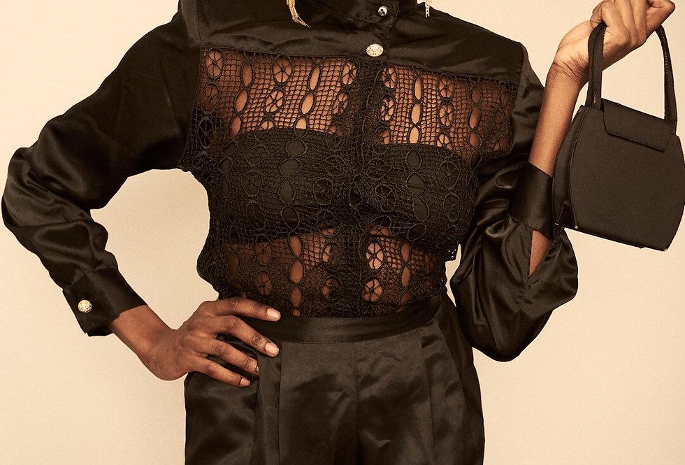 Black Lace Button Up