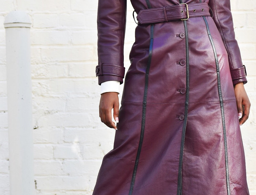 Limited Edition Rich Leather Plum Coat