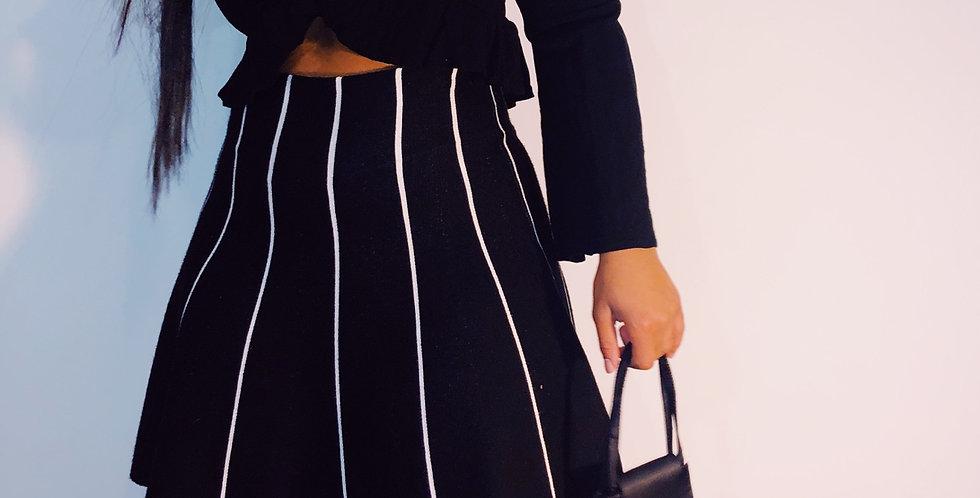 Striped Black Skater Skirt