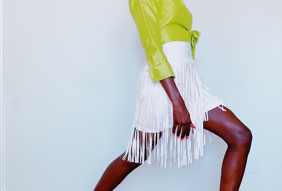 BCBG Leather Fringe White Skirt