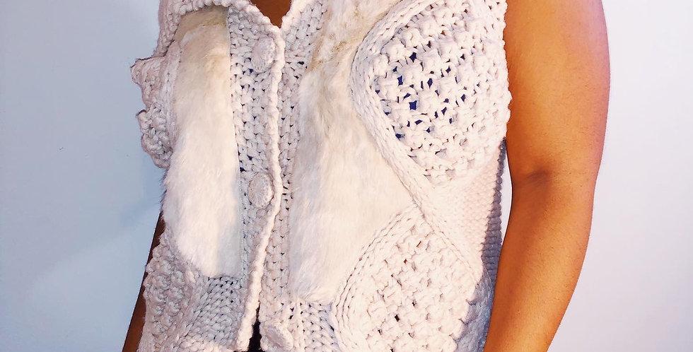 Anthropologie Crochet Fur Vest