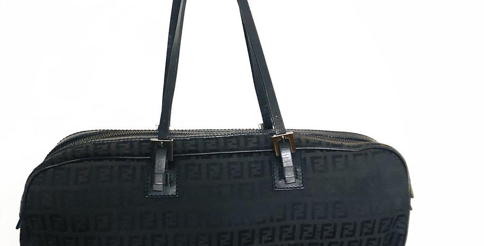 Fendi Black Zucca Handle Bag