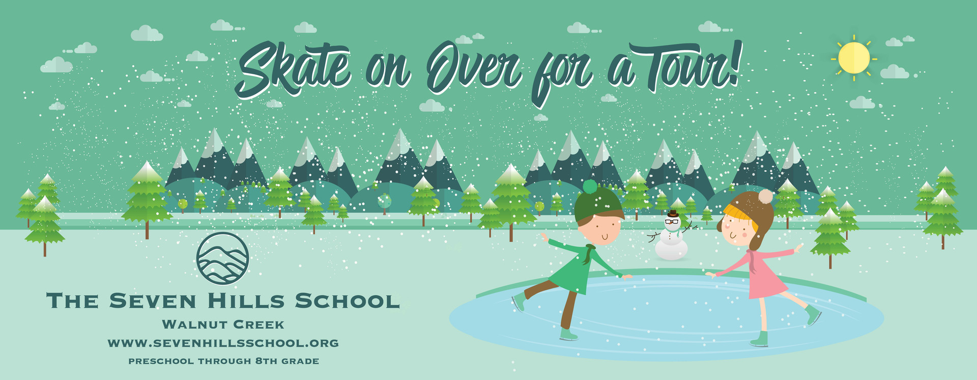 Ad banner for school at ice skating rink