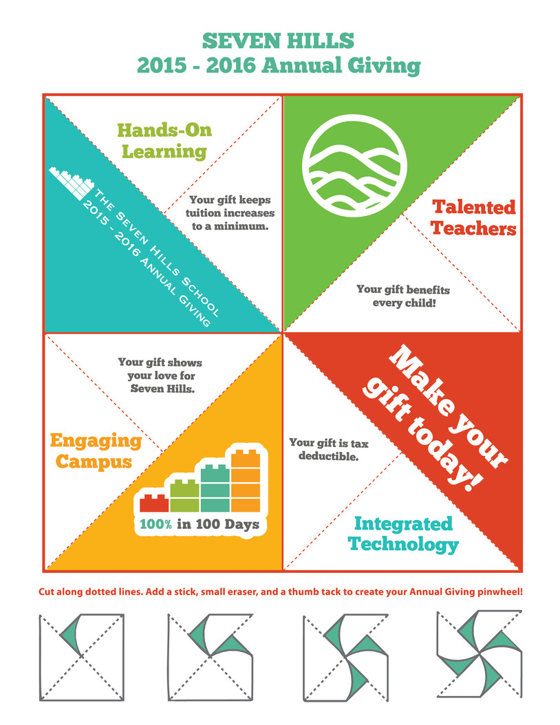 Design for annual giving pinwheel marketing piece