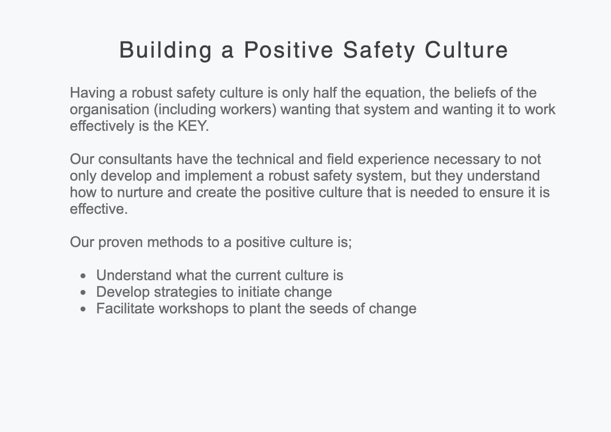 Building a Positive Safety Culture