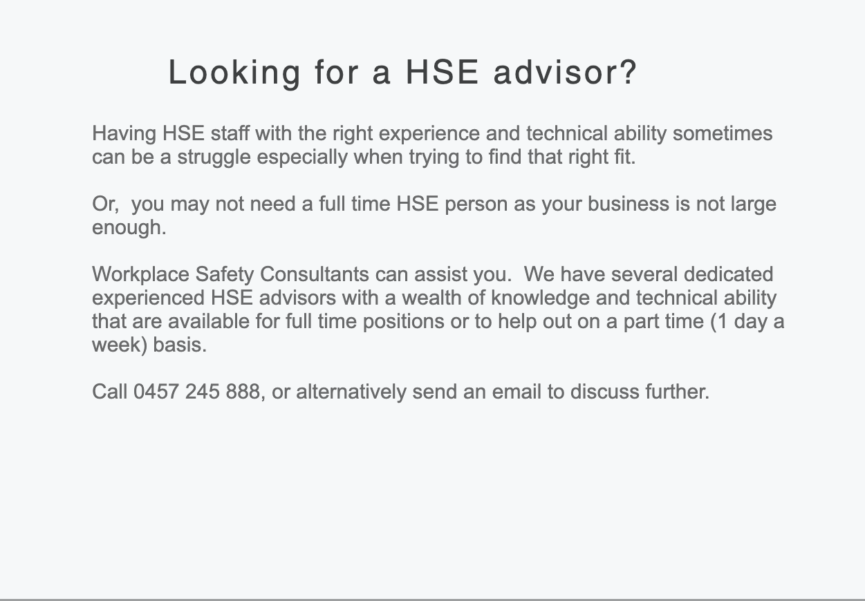Looking for a HSE Advisor?
