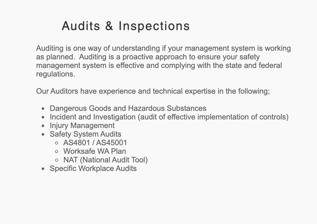Audits & Inspections