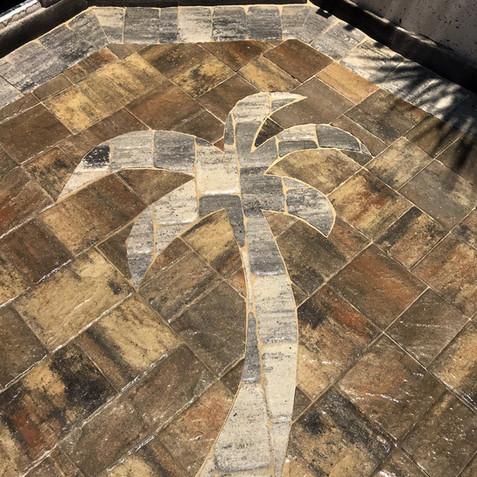 Custom Paver Inlay Palm Tree Paver