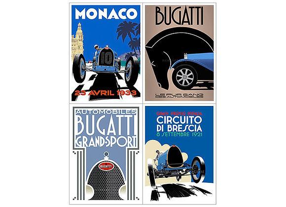 Half-Price 4 x Size 3 Bugatti Posters