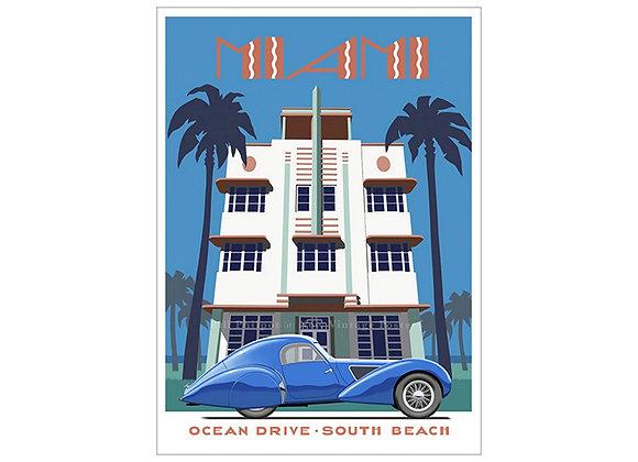 Art Deco Miami Hotel Poster
