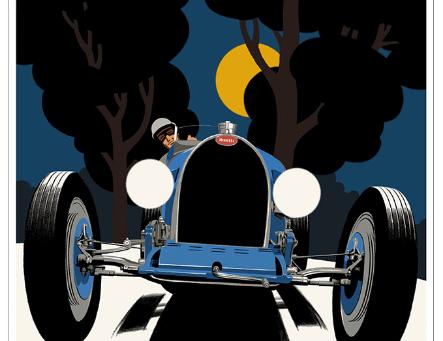 Bugatti Type 51 Night Poster
