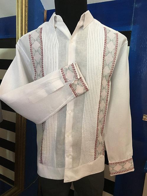 Guayabera Rubén  💯 % lino bordada a mano con hilos metálicos