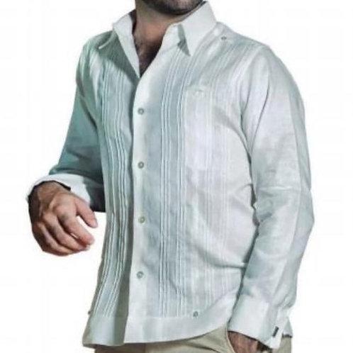 Guayabera Julio con aplicación tira bordada 100% lino italiano